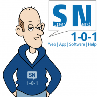 Logo Super-Nerd kurven weiß mit Super-Nerd